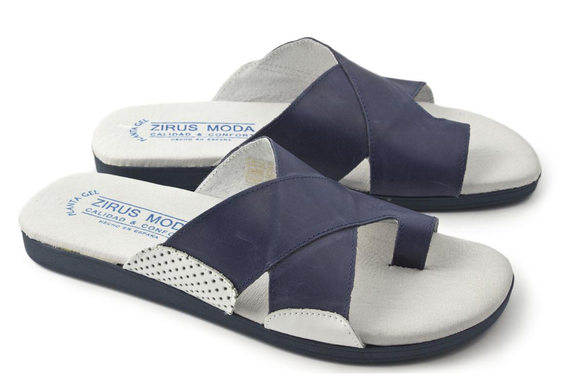Sandalia piel azul combinada