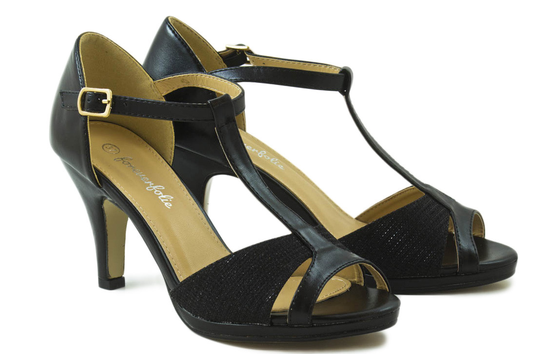Sandalia tacón negro