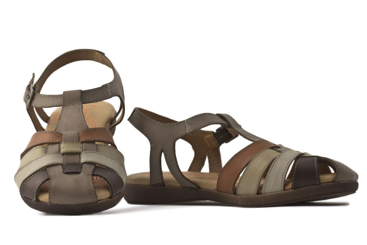 Sandalia piel plana combinada