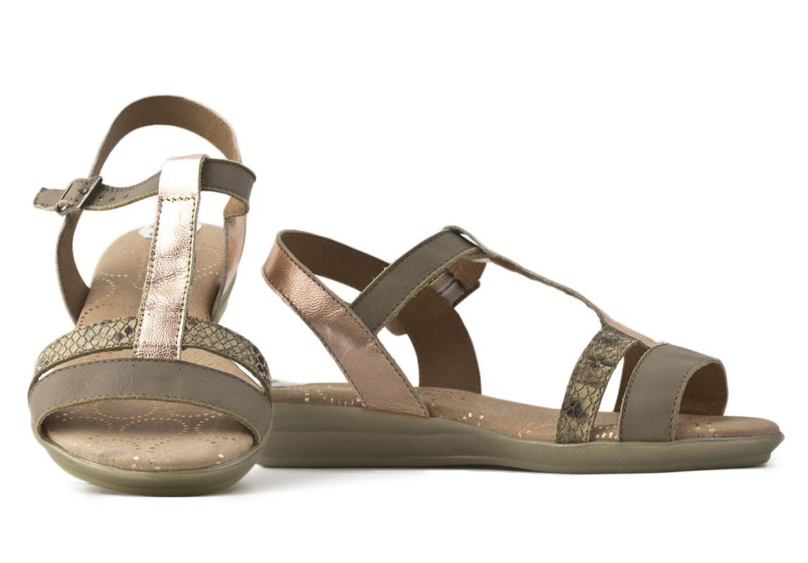 Sandalia plana piel combinada