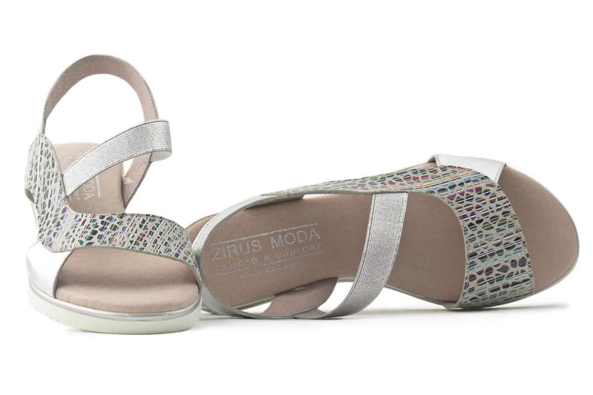 Sandalia piel plata elástico