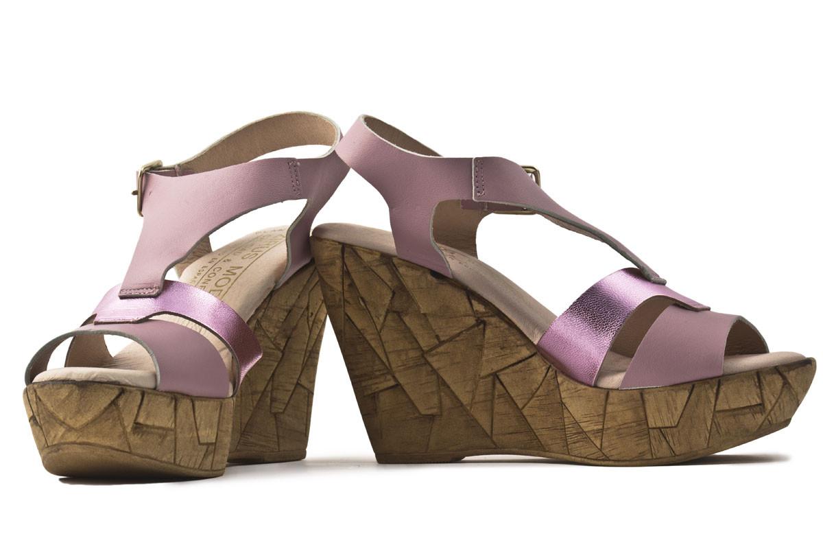 Sandalia plataforma  piel rosa combinada