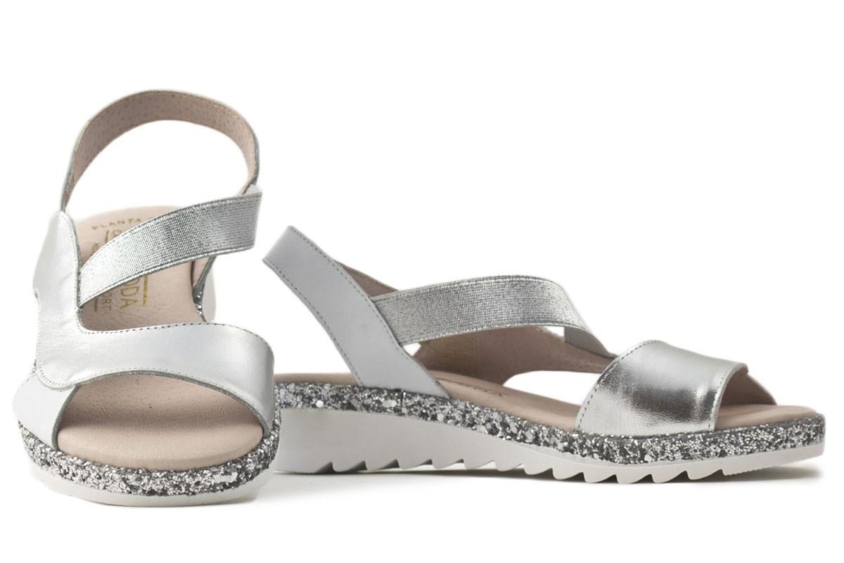 sandalia piel combinada plata