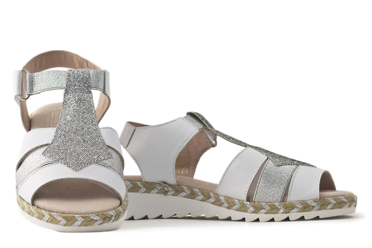 sandalia piel combinada