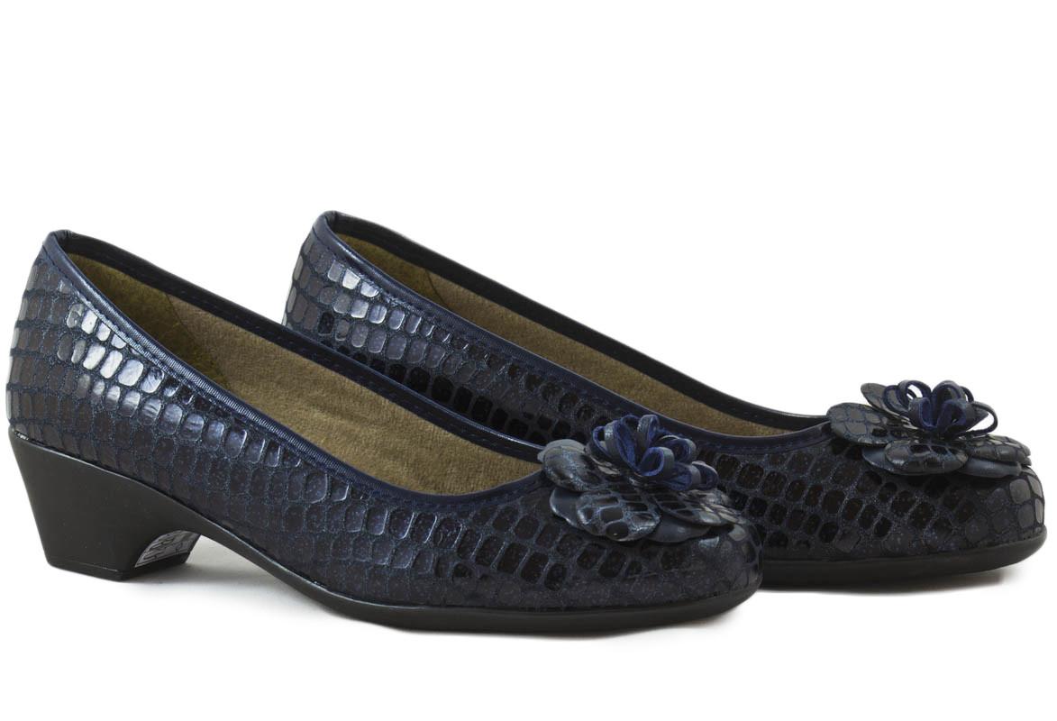 Zapato salón piel marino