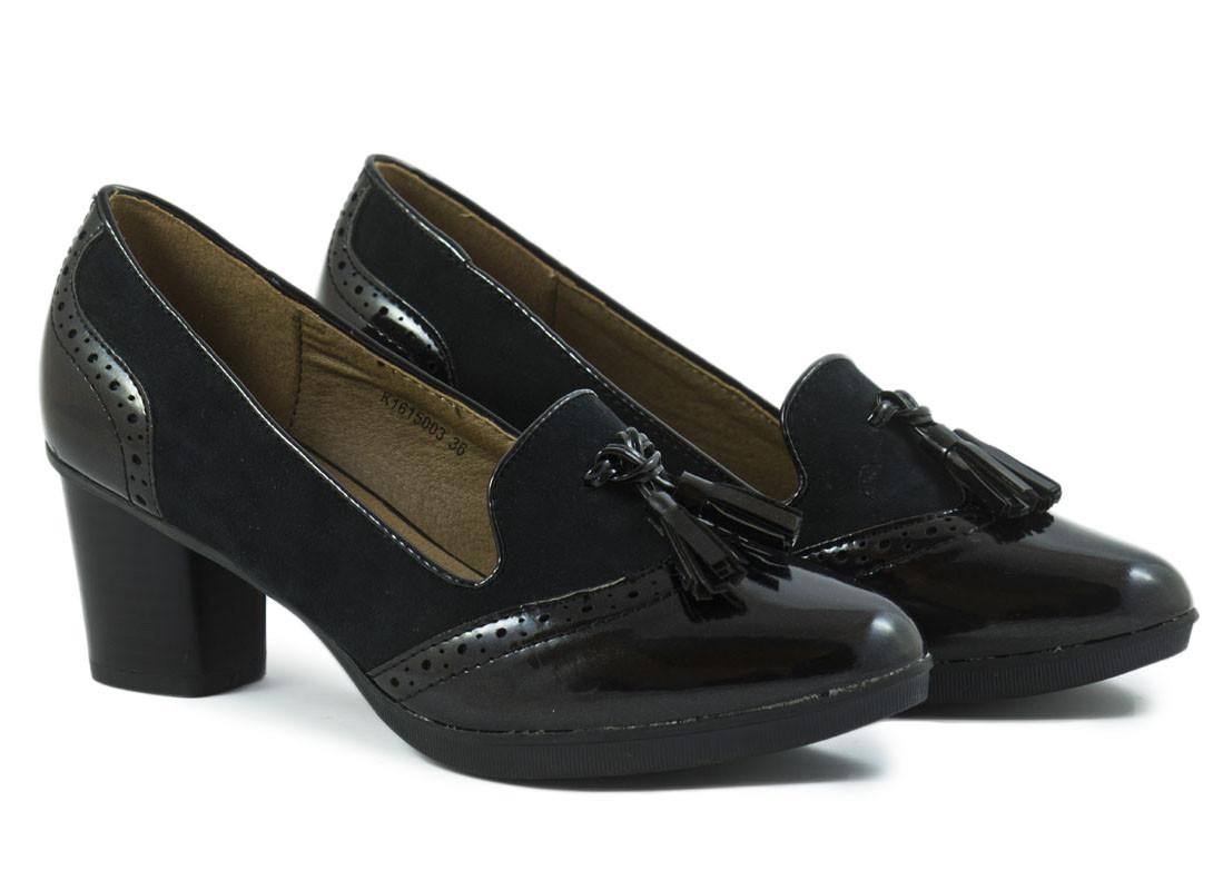 Zapato tacón ante y charol negro